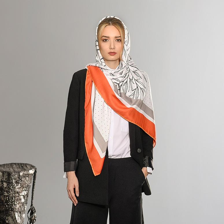 روسری برگ و نقطه  نارنجی